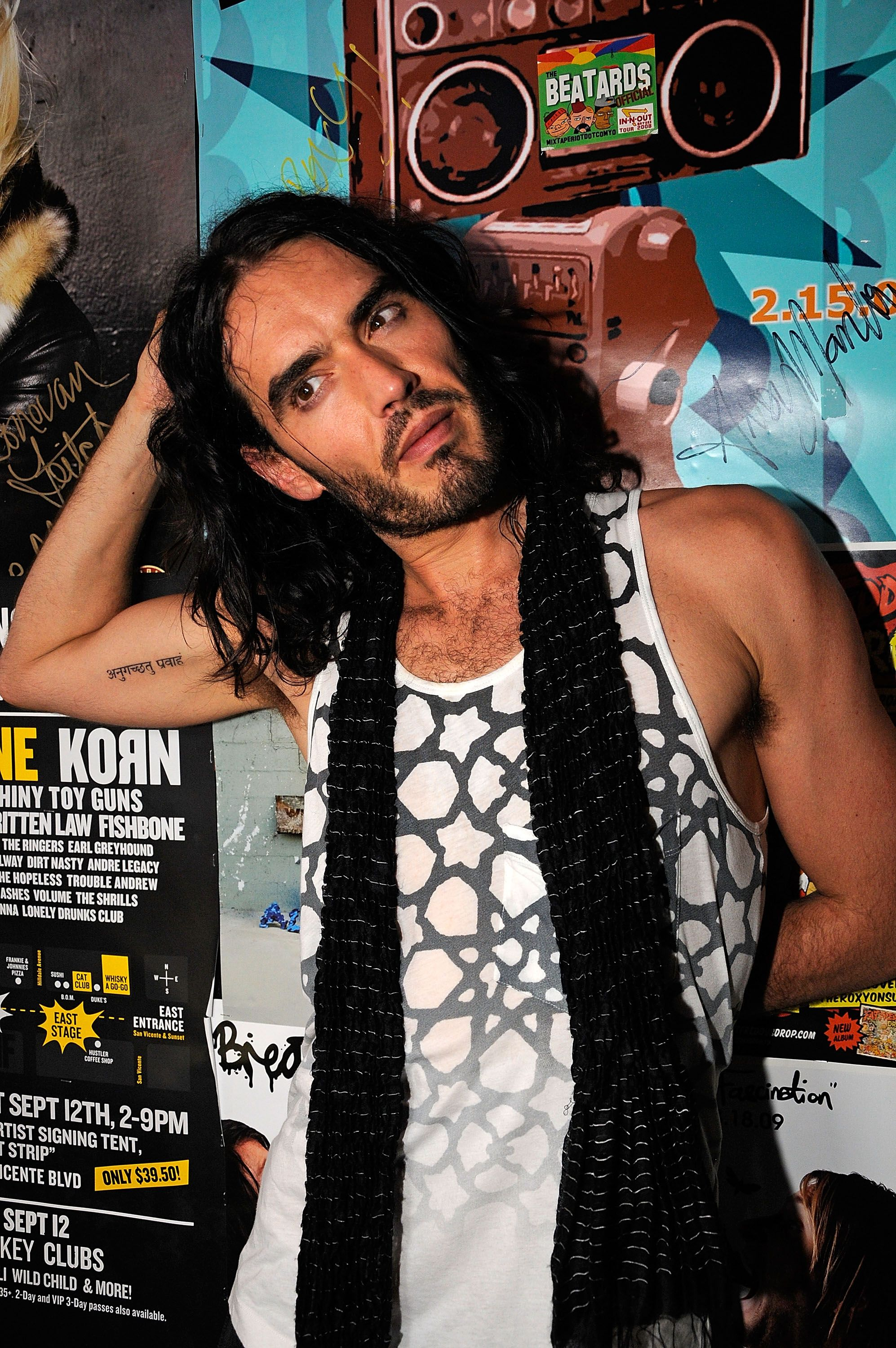 "Russell Brand backstage following a concert to promote the film ""Get Him To The Greek"" in 2010 in West Hollywood 