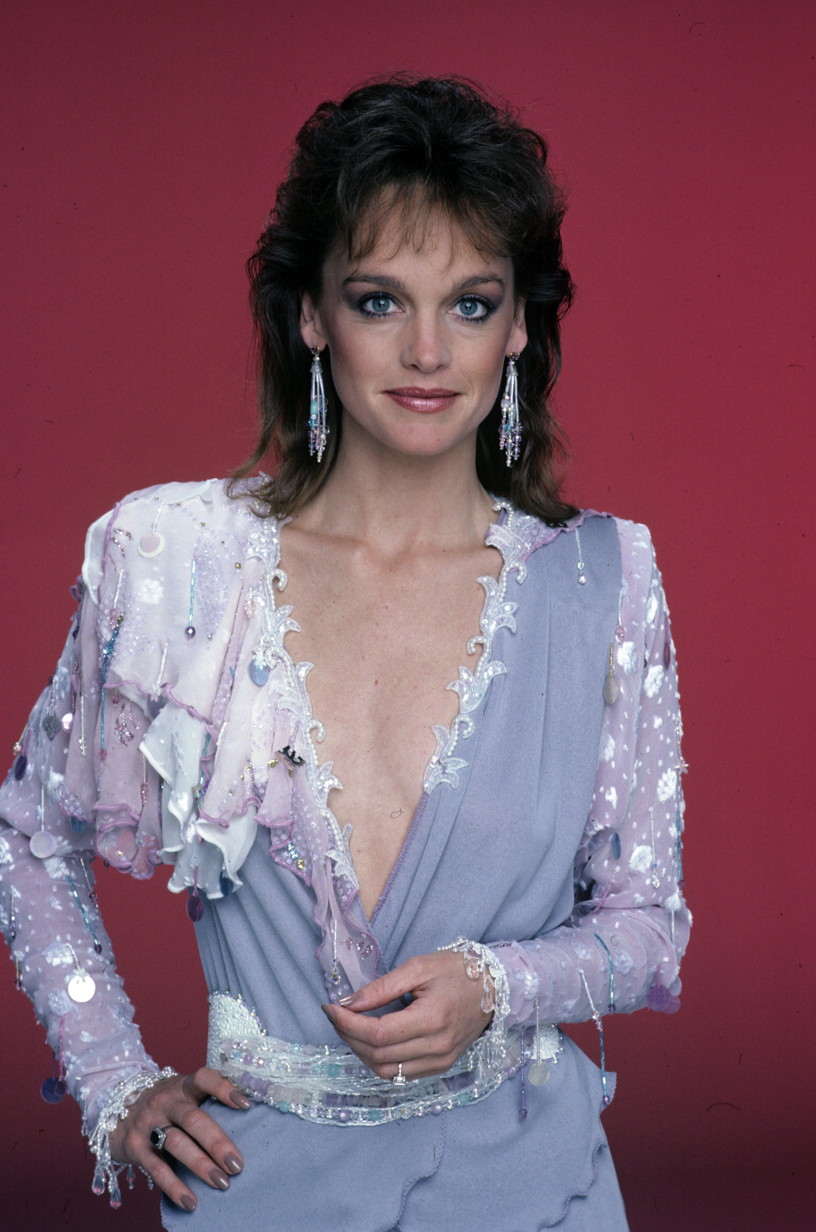 """Studio portrait of *Pamela Sue Martin on the set of """"Dynasty"""" 1983