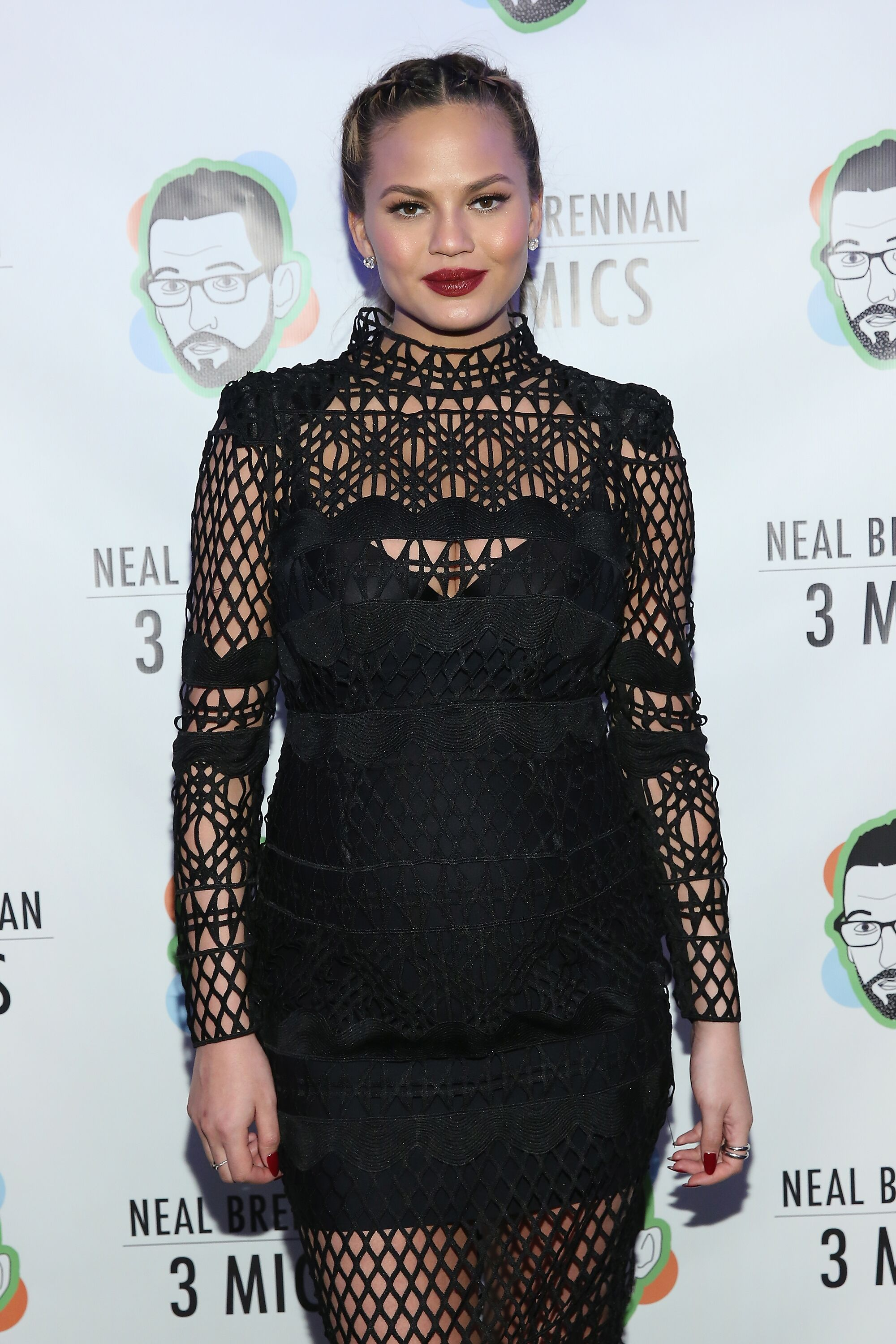 """Chrissy Teigen attends """"Neal Brennan 3 Mics"""" Opening Night at the Lynn Redgrave Theatre on March 3, 2016 