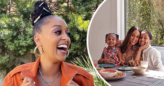 """A picture of """"Sister, Sister"""" actress, Tia Mowry, and her kids. 
