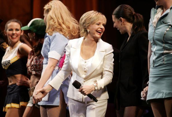 "Florence Henderson performs ""Nothing Like a Dame"" during the 2009 Broadway Backwards at the American Airlines Theatre on February 9, 2009, in New York City.