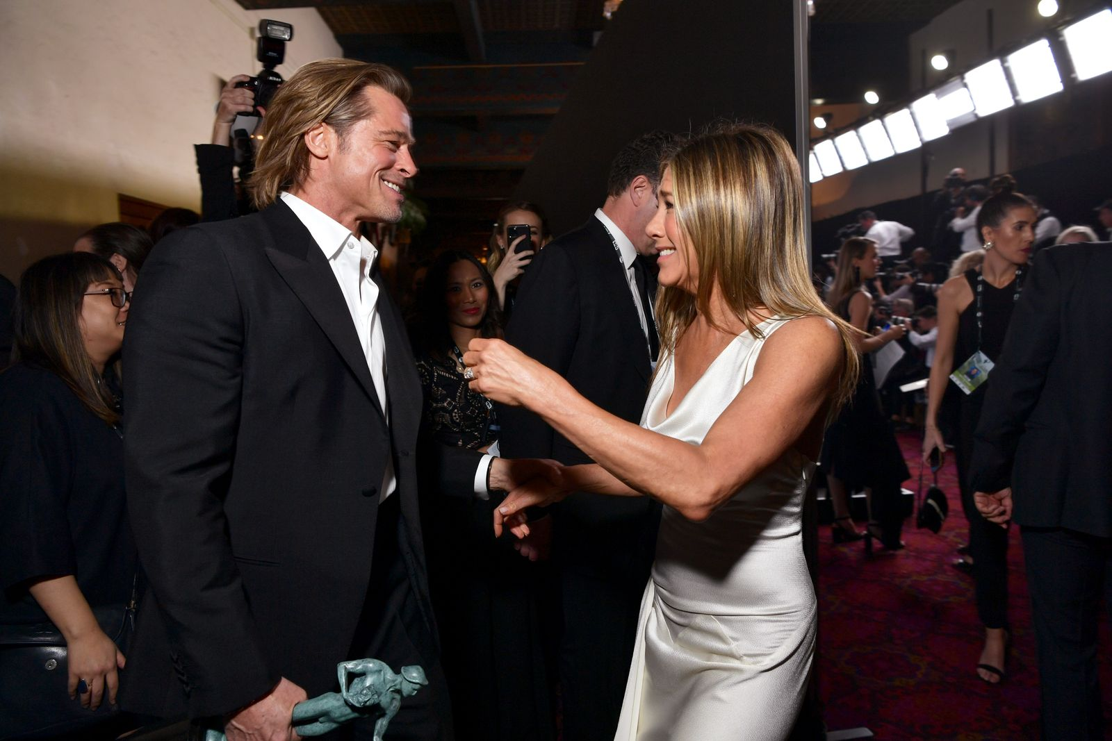 Brad Pitt and Jennifer Aniston at the 26th Annual Screen ActorsGuild Awards at The Shrine Auditorium on January 19, 2020   Photo: Getty Images