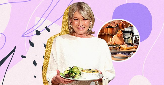 Martha Stewart prepares the Classic Beyond Breakfast Sausage with Spinach and Sweet Onion Frittata on March 10, 2020 in New York City, the next image shows her cooking in the kitchen | Photo: Getty Images and Instagram/@marthastewart