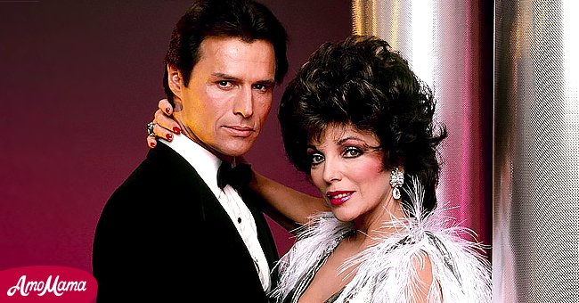 """Joan Collins with her """"Dynasty"""" co-star Michael Nader   Source: Getty Images"""