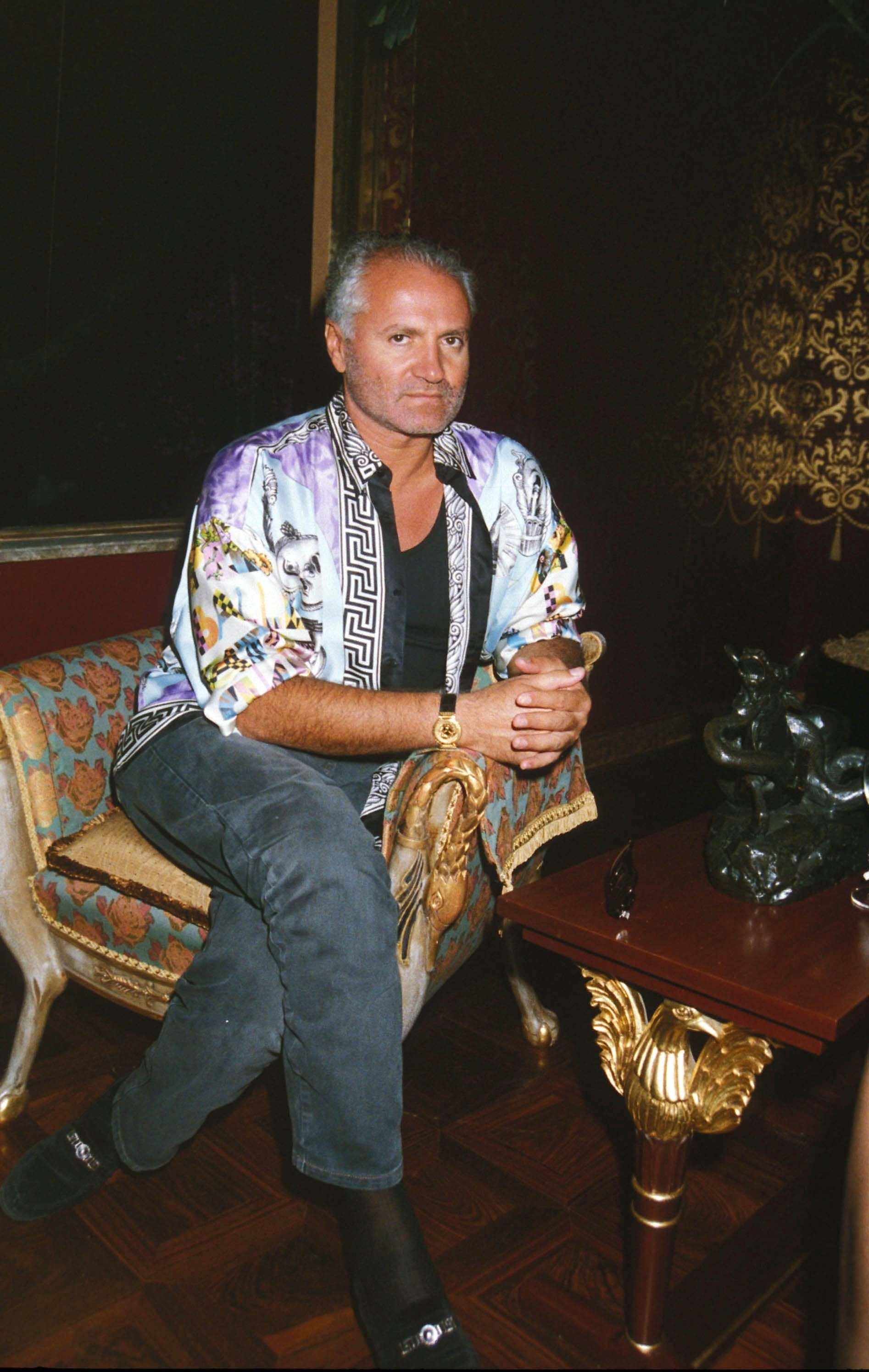 Gianni Versace at Sylvester Stallone's house warming party in the United Kingdom, circa 1991   Photo: Dave Benett/Getty Images