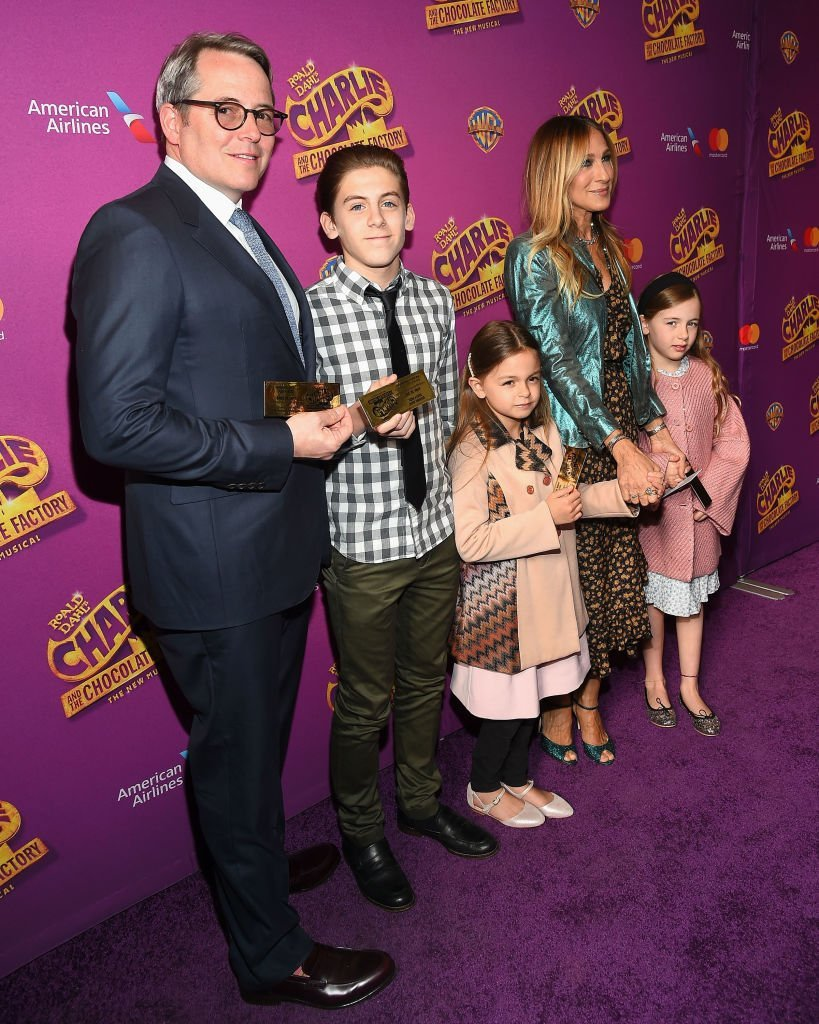 """Matthew Broderick and Sarah Jessica Parker  attend the """"Charlie And The Chocolate Factory"""" Broadway opening night and their children in April 2017 at Lunt-Fontanne Theatre. 