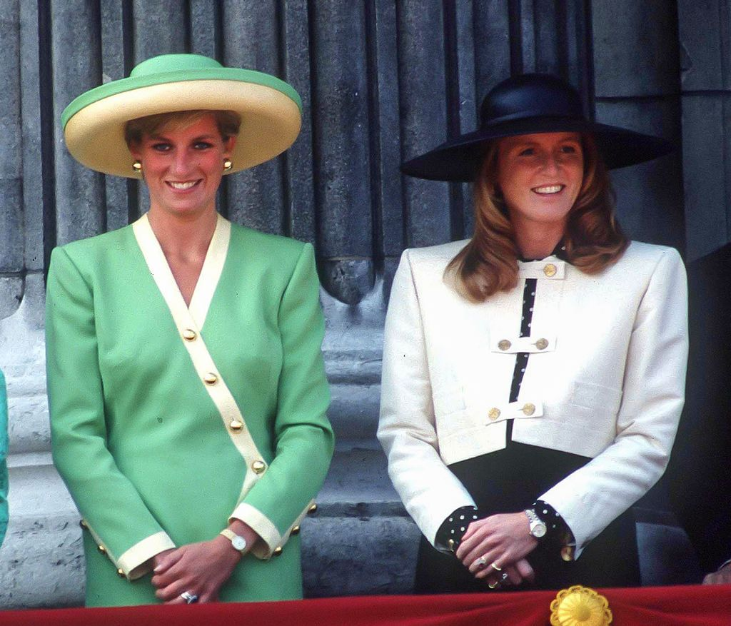 Princess Diana and Sarah Ferguson at the 50th Anniversary of The Battle of Britain Parade, on the balcony of Buckingham Palace, on September 15, 1990 in, London, United Kingdom   Photo: Getty Images