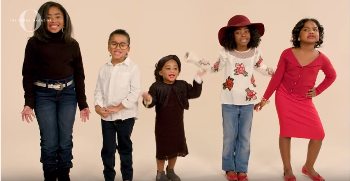 Group of little cute girls interview media mogul, Oprah Winfrey in a recent clip shared on YouTube | Photo: YouTube/O, The Oprah Magazine