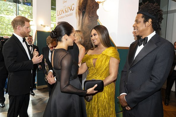 """Prince Harry, Meghan Markle, Beyonce Knowles-Carter and Jay-Z at the Premiere of Disney's """"The Lion King""""   in London."""