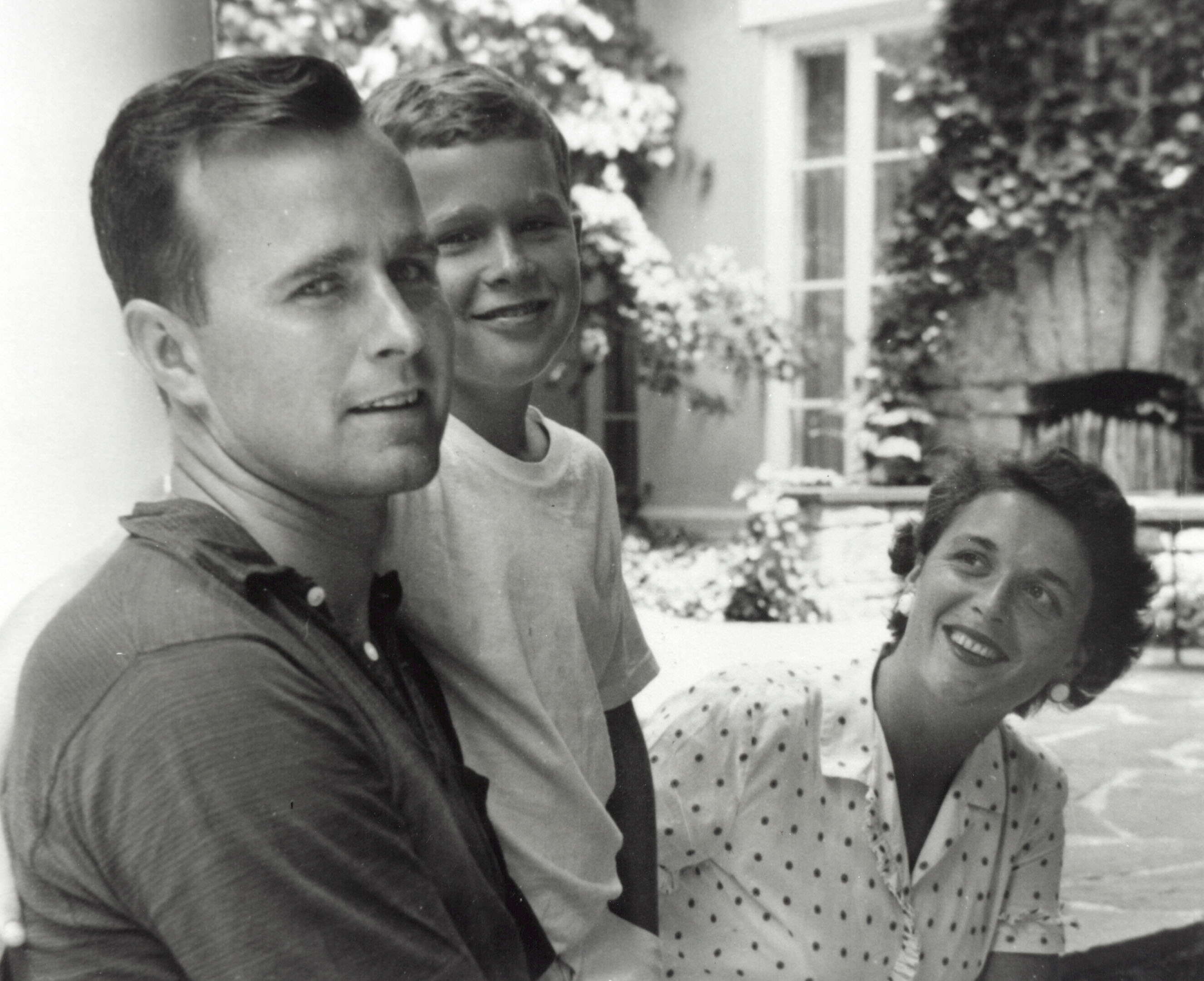 George W. Bush (C) poses with father George Bush and his mother Barbara Bush in Rye, New York, summer 1955.   Source: Getty Images