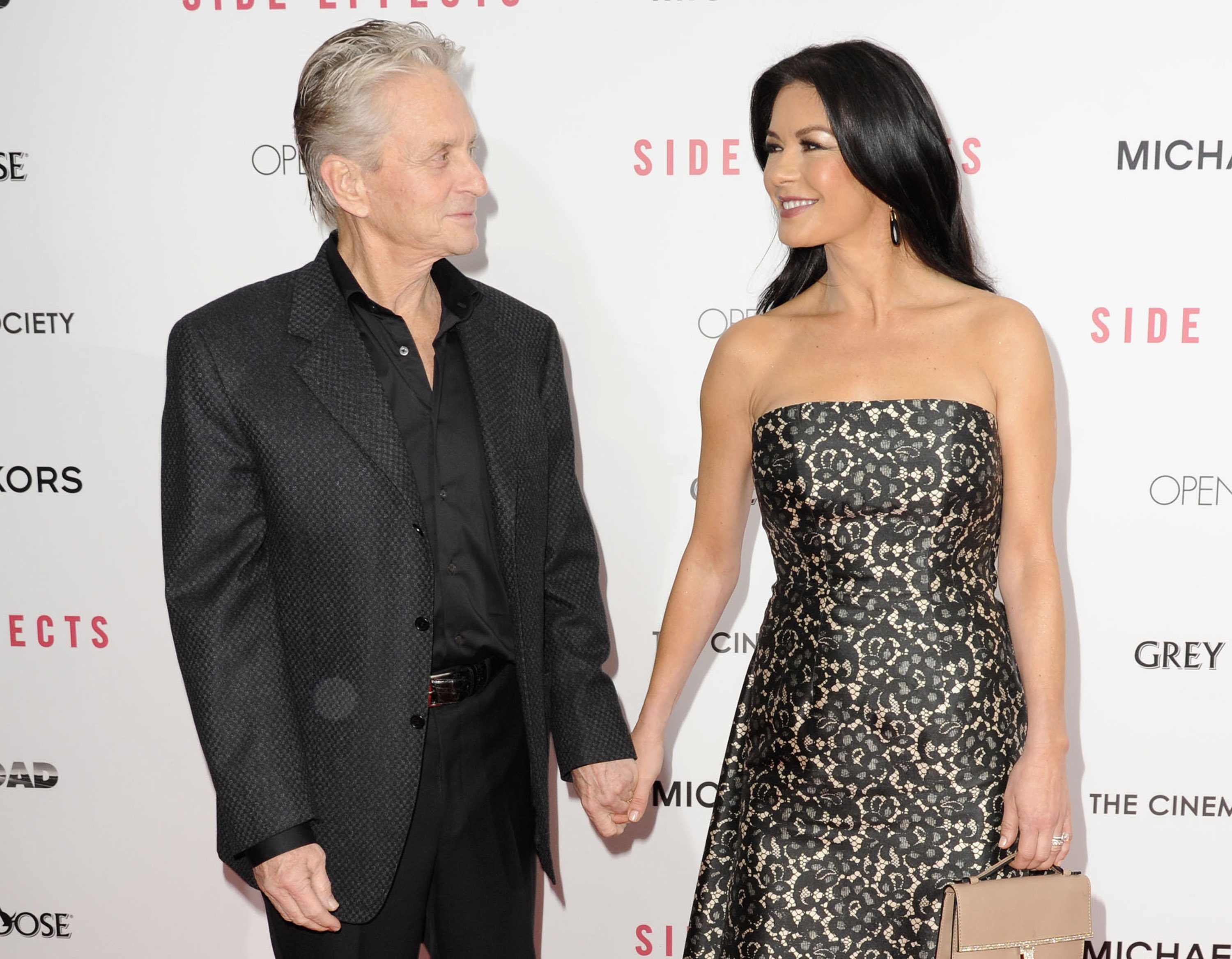 "Michael Douglas and Catherine Zeta-Jones attend the premiere of ""Side Effects"" in New York City on January 31, 2013 