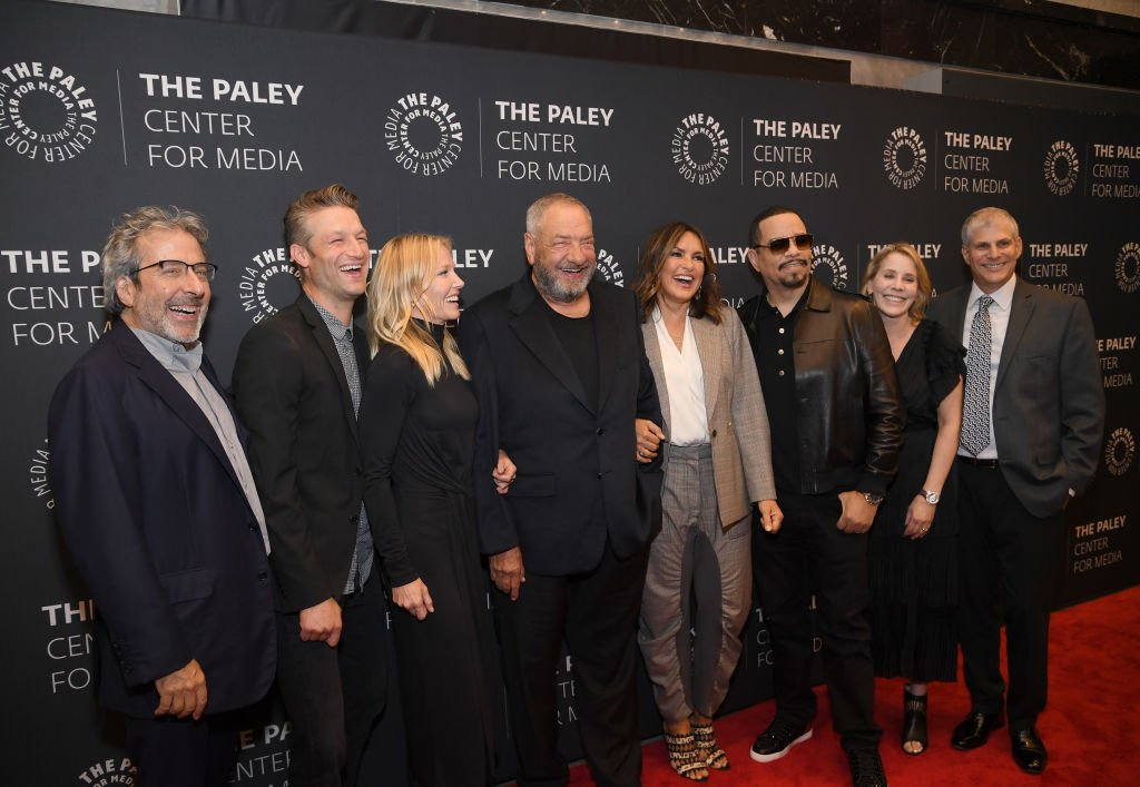 "Warren Leight, Peter Scanavino, Kelli Giddish, Dick Wolf, Marishka Hargitay, Ice-T, Julie Martin and Michael Starr attend the ""Law & Order: SVU"" Television Milestone Celebration. 
