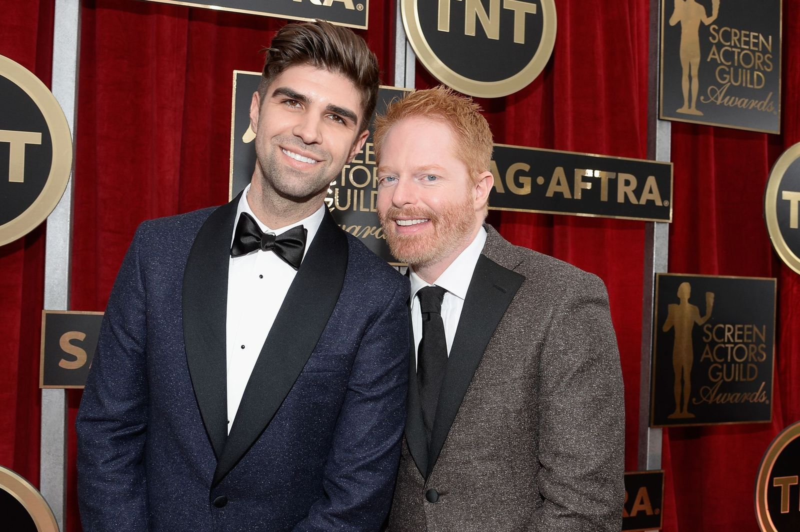 Justin Mikita and Jesse Tyler Ferguson atthe 21st Annual Screen Actors Guild Awards at The Shrine Auditorium on January 25, 2015, in Los Angeles, California | Photo: Kevork Djansezian/Getty Images