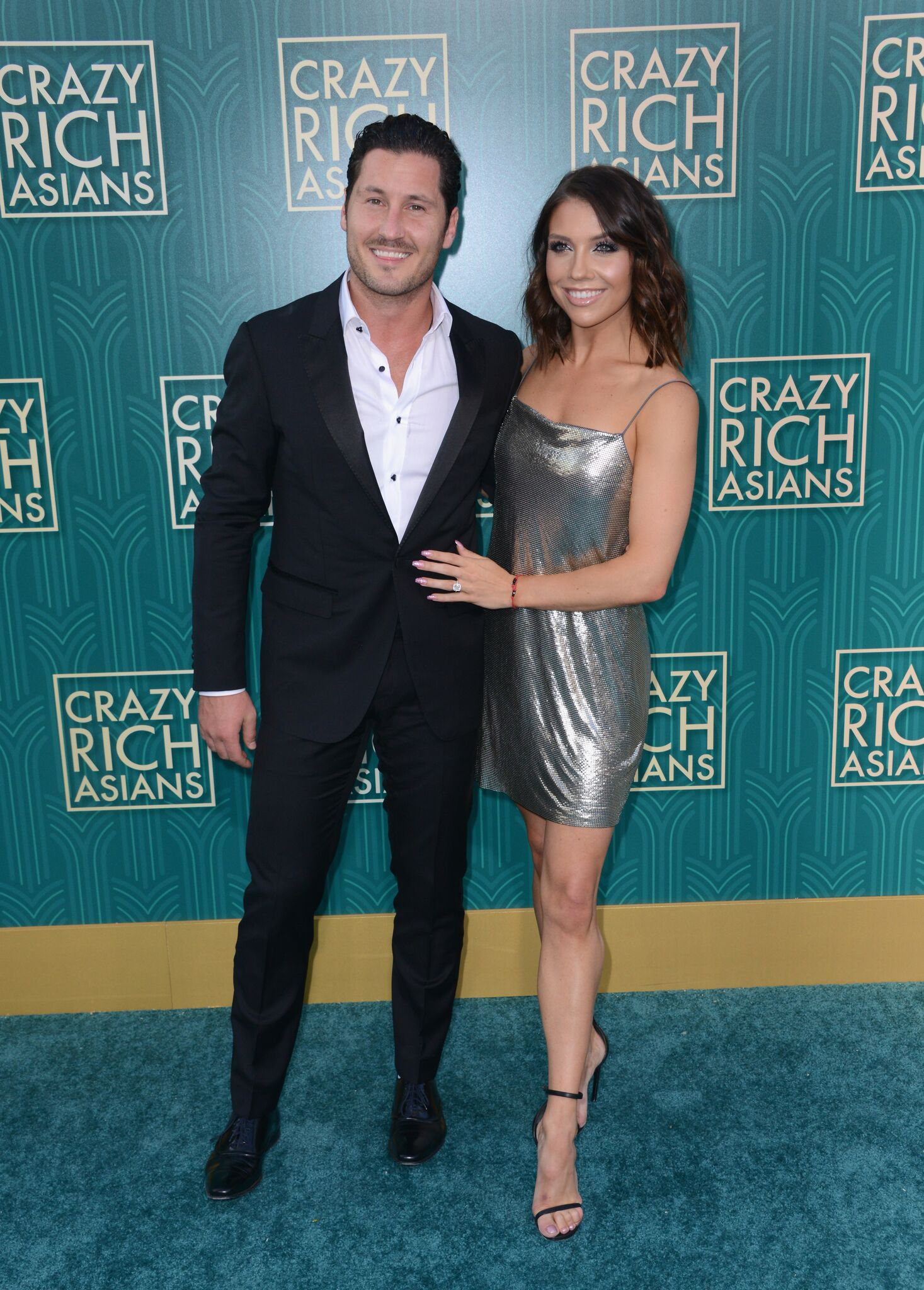 """Valentin Chmerkovskiy and Jenna Johnson arrive for Warner Bros. Pictures' """"Crazy Rich Asians"""" Premiere held at TCL Chinese Theatre IMAX 