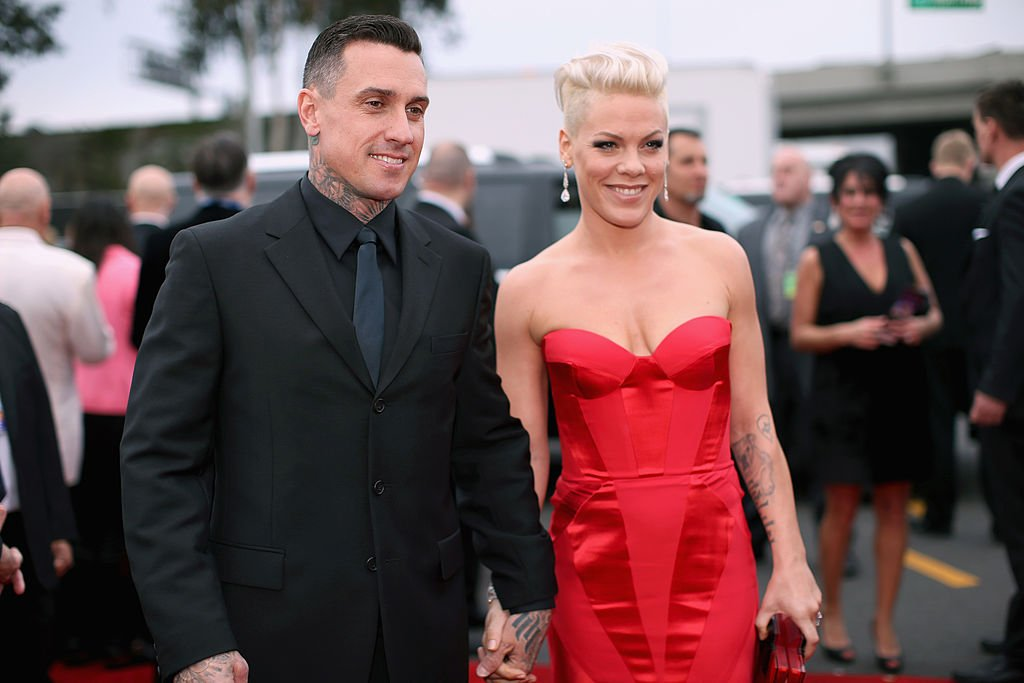 Carey Hart and Pink on the red carpet at the 56th Grammy Awards in Los Angeles in 2014.   Photo: Getty Images