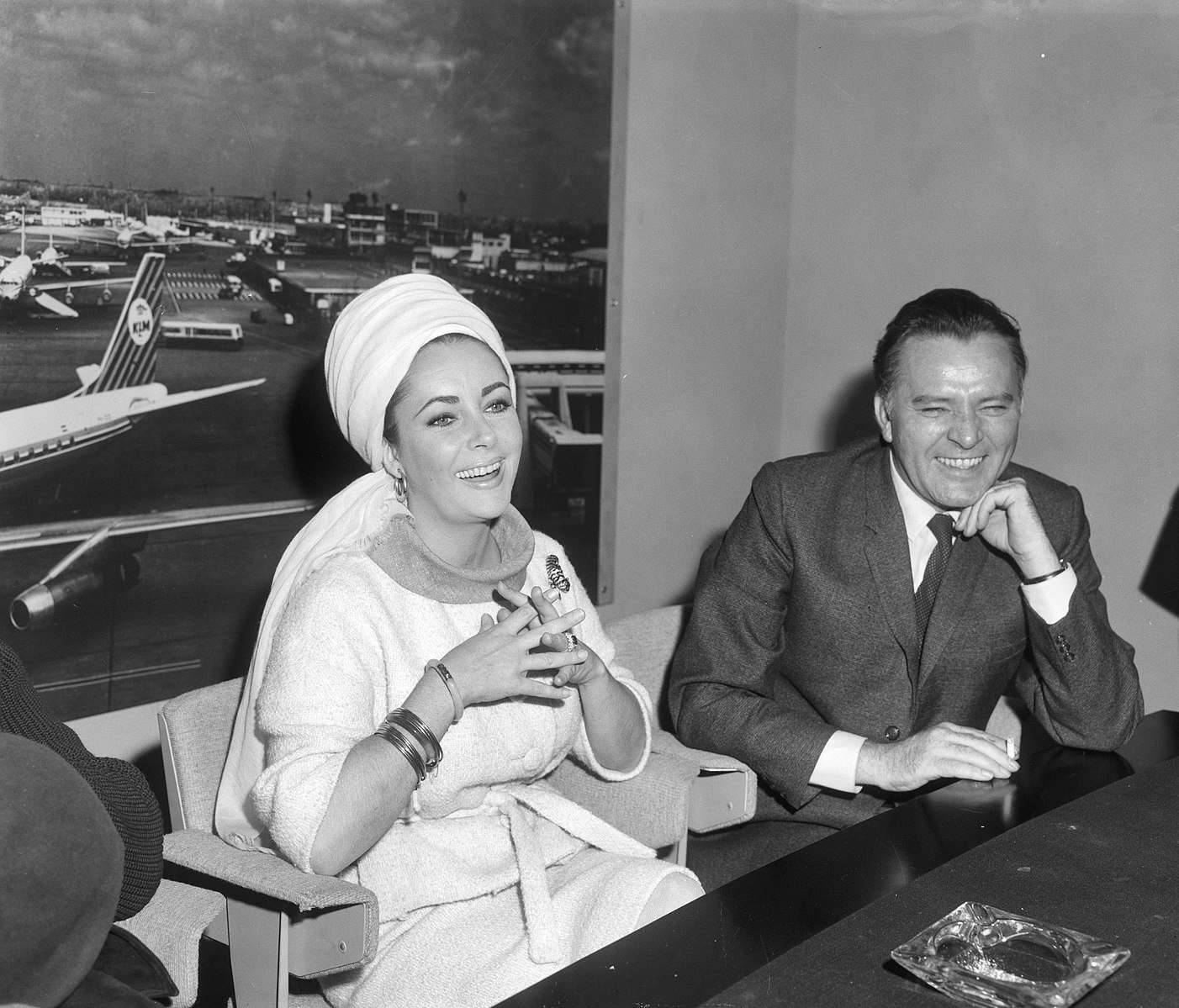 """Elizabeth Taylor and Richard Burton during press conference at Schiphol for """"The Spy Who Came In From The Cold."""" 