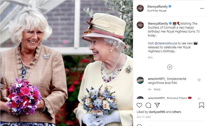 Her Majesty, the Queen wishing The Duchess of Cornwall a very happy birthday | Photo: Instagram/theroyalfamily