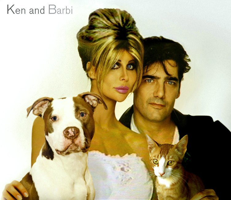 Portrait of Shane Barbi, Ken Wahl, and their pets circa 1997 | Photo: Getty Images