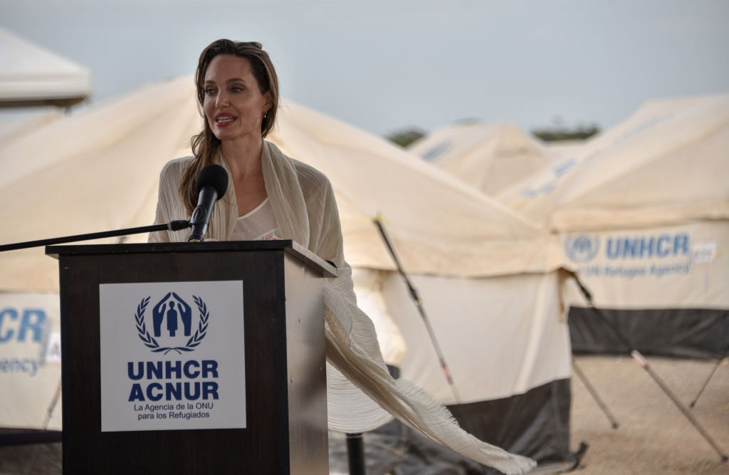 Angelina Jolie speaks during a press conference after visiting a refugee camp in the border between Colombia and Venezuela on June 8, 2019 in Maicao, Colombia. | Getty Images
