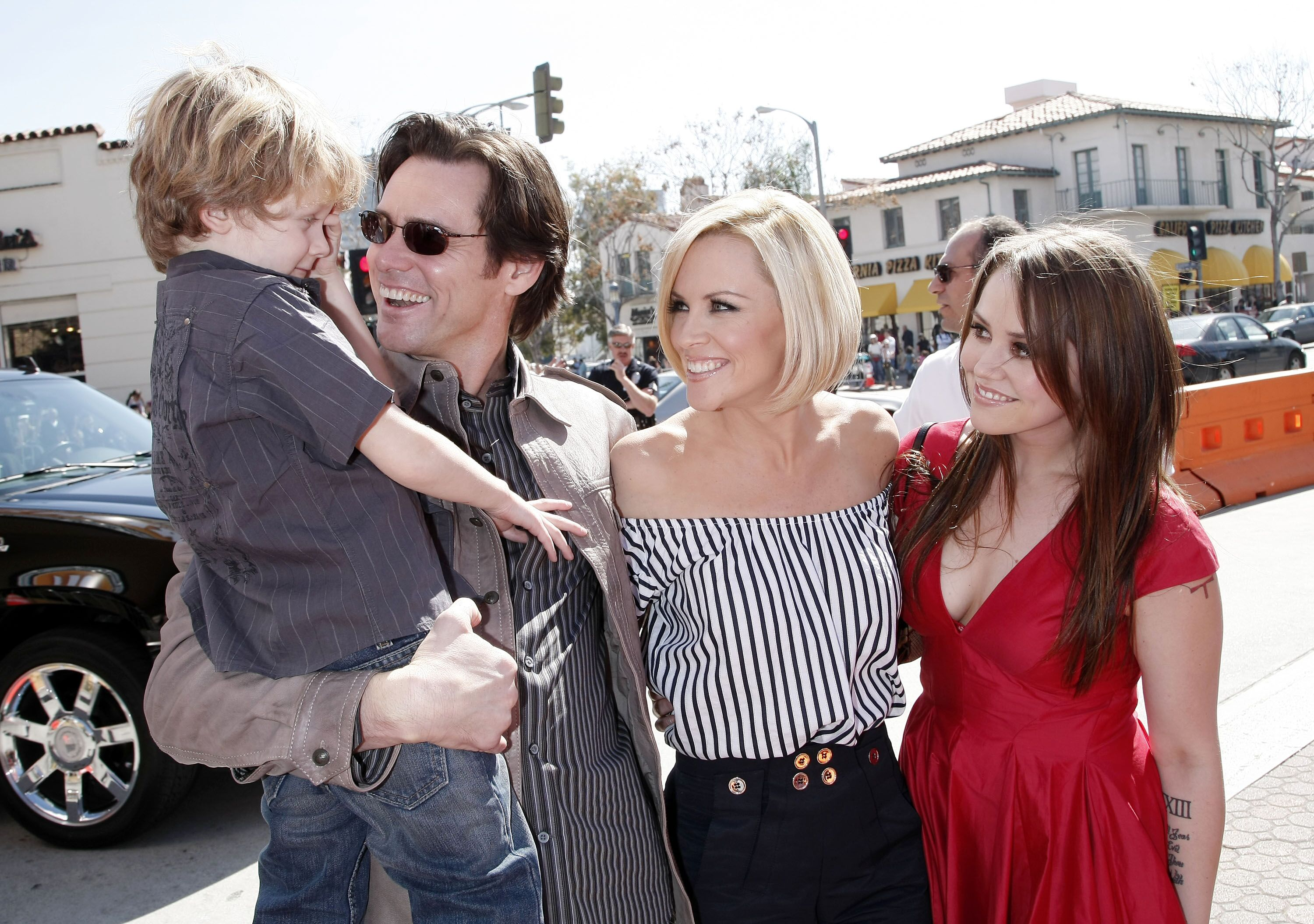 "Evan Asher, son of Jenny, actors Jim Carrey, Jenny McCarthy and Jim's daughter Jane Carrey at the world premiere ""Horton Hears a Who!"" 