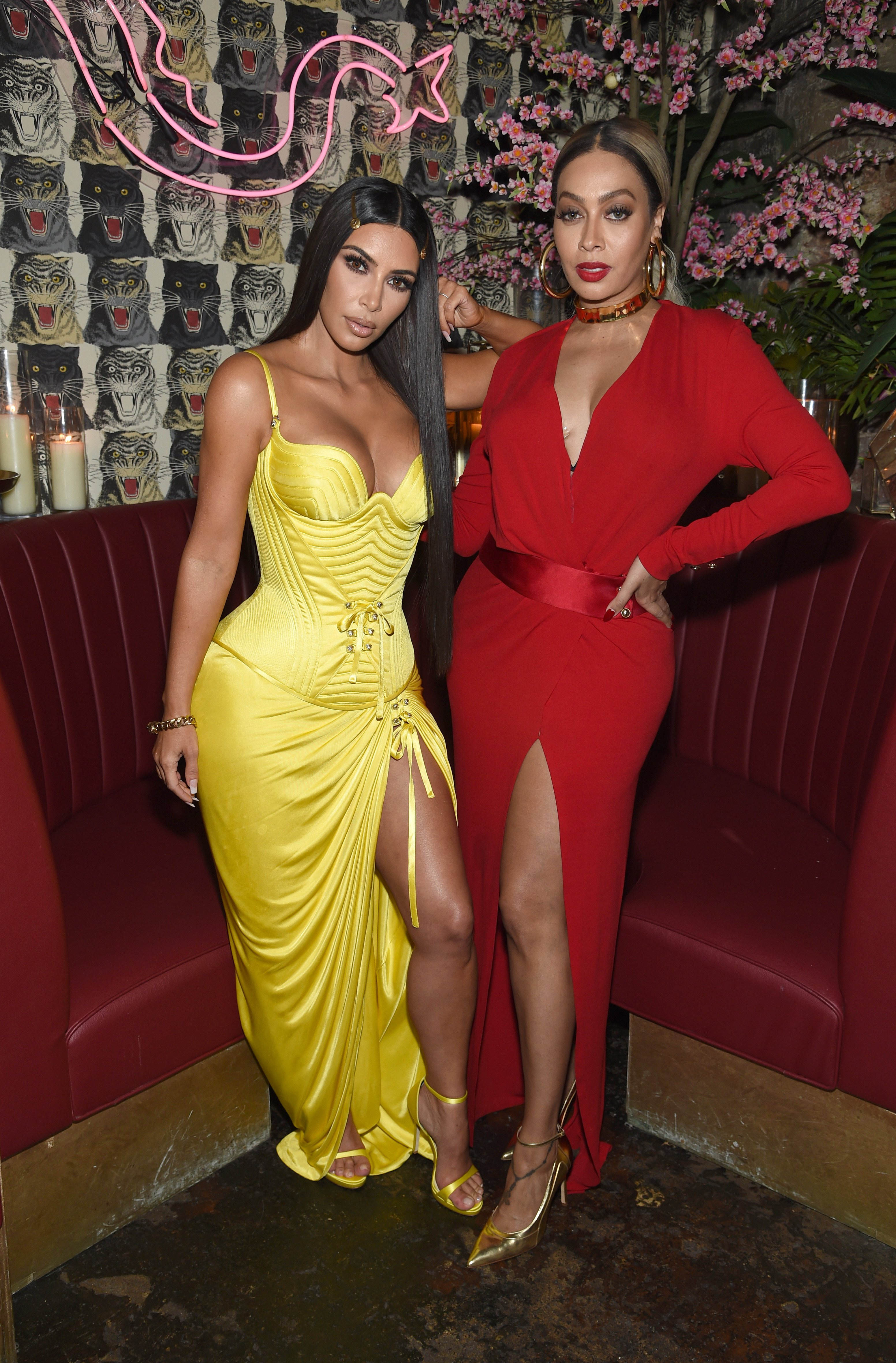Kim Kardashian and actress Lala Anthony attend a dinner hosted by The Business of Fashion at Peachy's/Chinese Tuxedo on May 8, 2018 in New York City.   Photo: Getty Images