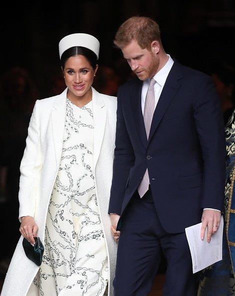 Meghan Markle et le prince Harry quittent le Service du Commonwealth à l'Abbaye de Westminster le 11 mars 2019, à Londres, en Angleterre. | Source : Getty Images