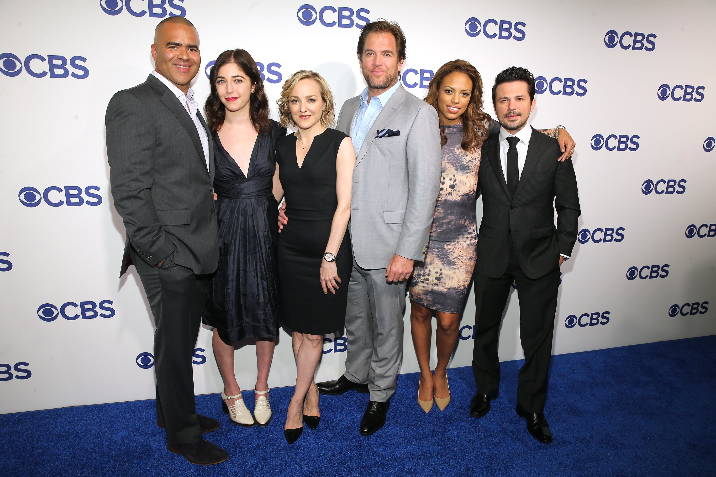 Cast of Bull: Chris Jackson, Annabelle Attanasio, Geneva Carr, Michael Weatherly, Jamie Lee Kirchner, and Freddy Rodriguez attend the 2016 CBS Upfront at The Plaza on May 18, 2016, in New York City. | Source: Getty Images.
