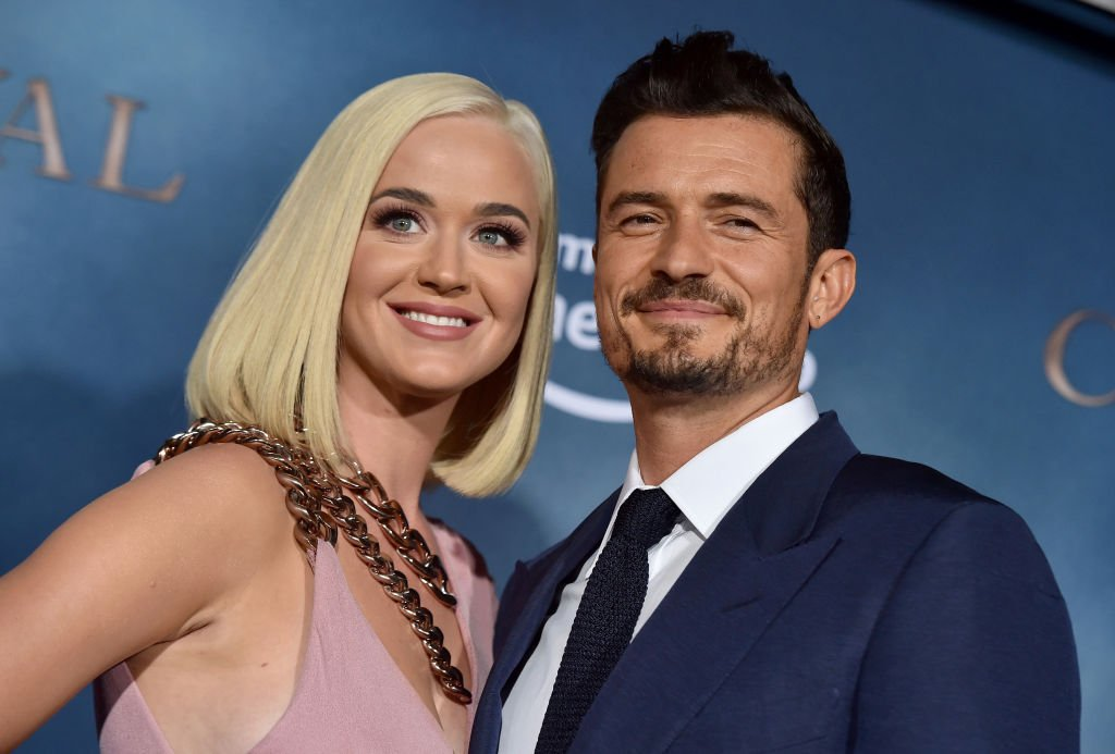 "Katy Perry and Orlando Bloom arrive on the red carpet for the premiere of ""Carnival Row"" on August 21, 2019, in Hollywood, California 