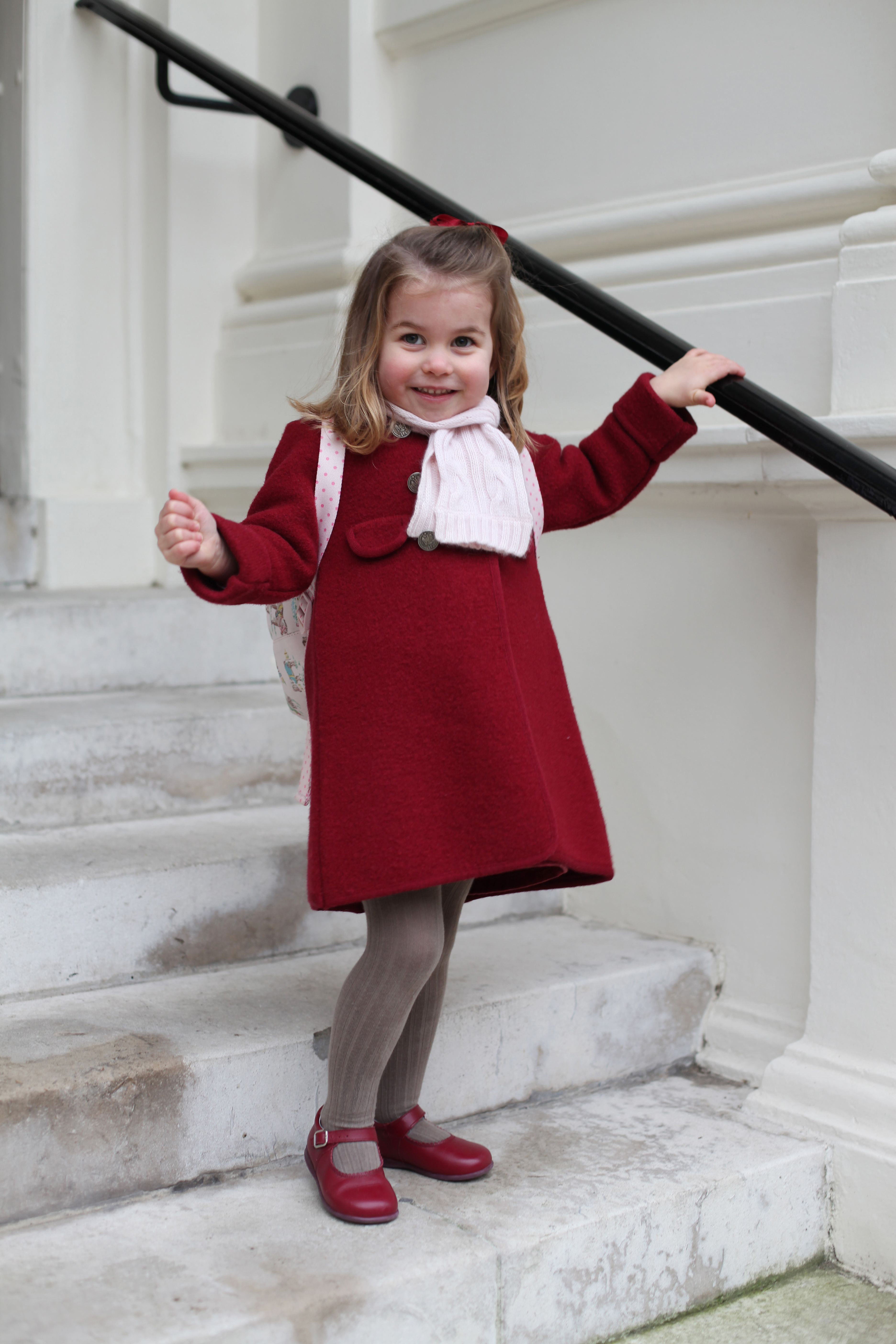 Princess Charlotte  at Kensington Palace before her first day of nursery at the Willcocks Nursery School on January 08, 2018 in London, United Kingdom. | Source: Getty Images