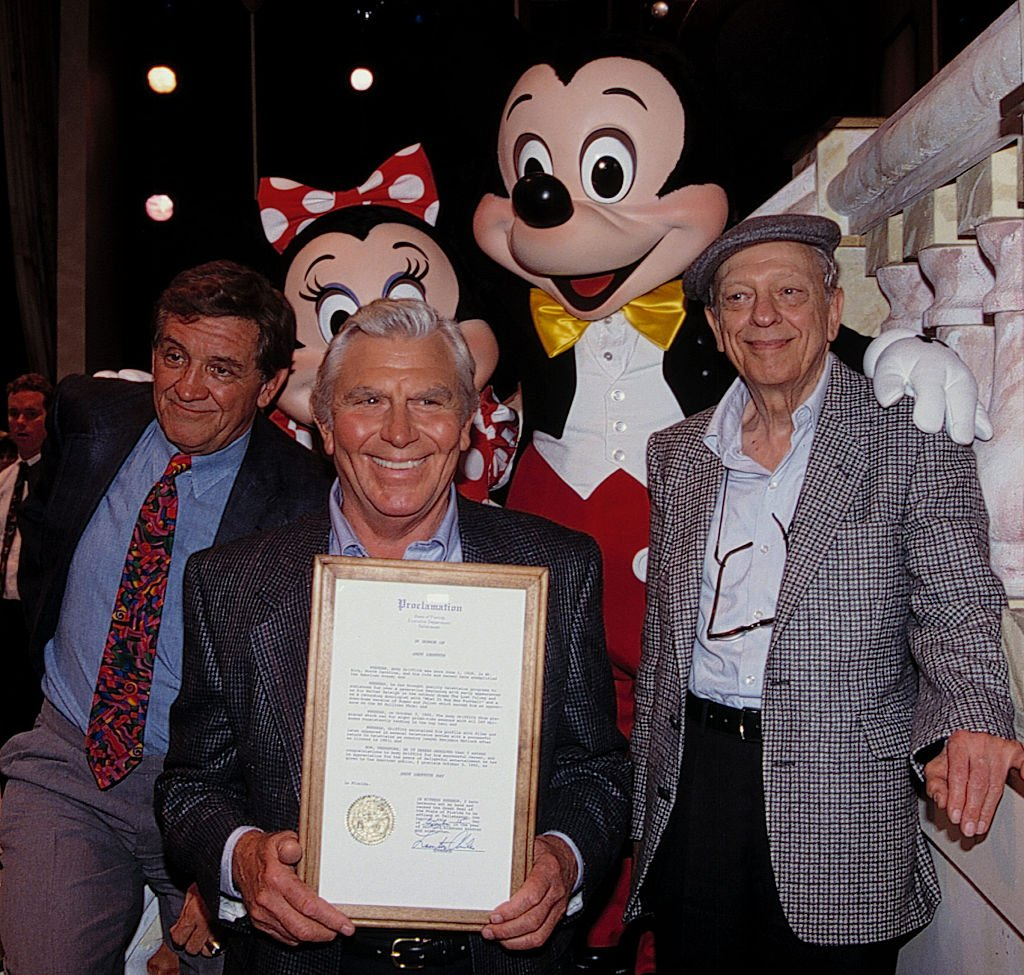 """George Lindsey, Andy Griffith & Don Knotts attend an """"ANDY GRIFFITH SHOW"""" Reunion at the Disney MGM Studios, Walt Disney World Theme Park in Orlando, Florida on August 11, 1992. 