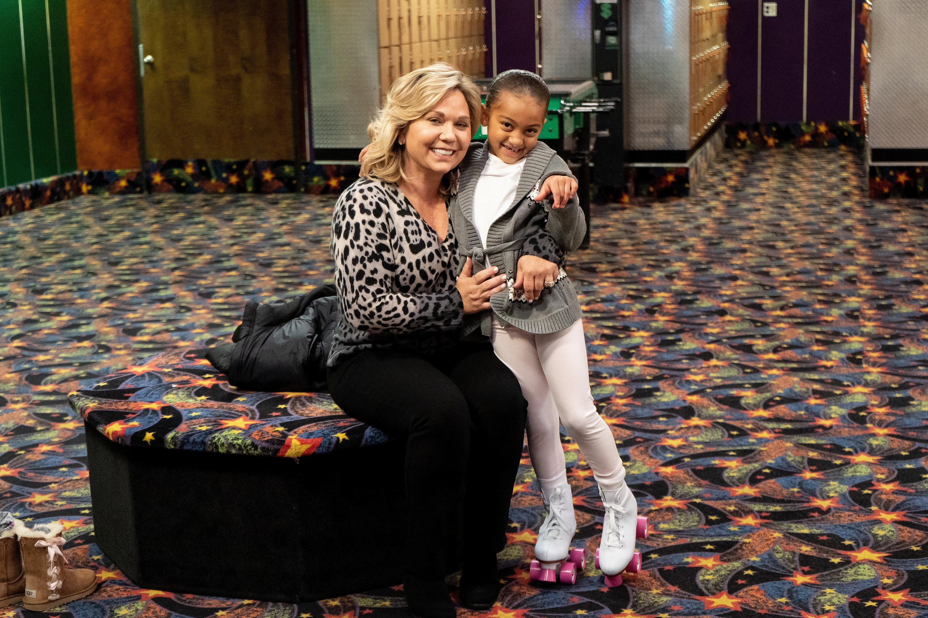 """Chloe Chrisley and Julie Chrisley on an episode of """"Roller Skates and Senior Dates.""""  Source  
