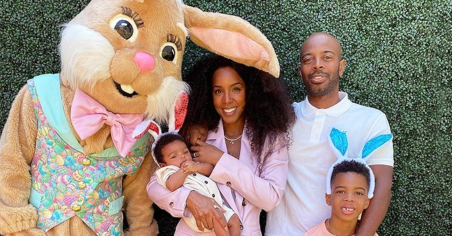Kelly Rowland's Sons Noah & Titan Look Cute Wearing Bunny Ears as They Pose with Their Parents