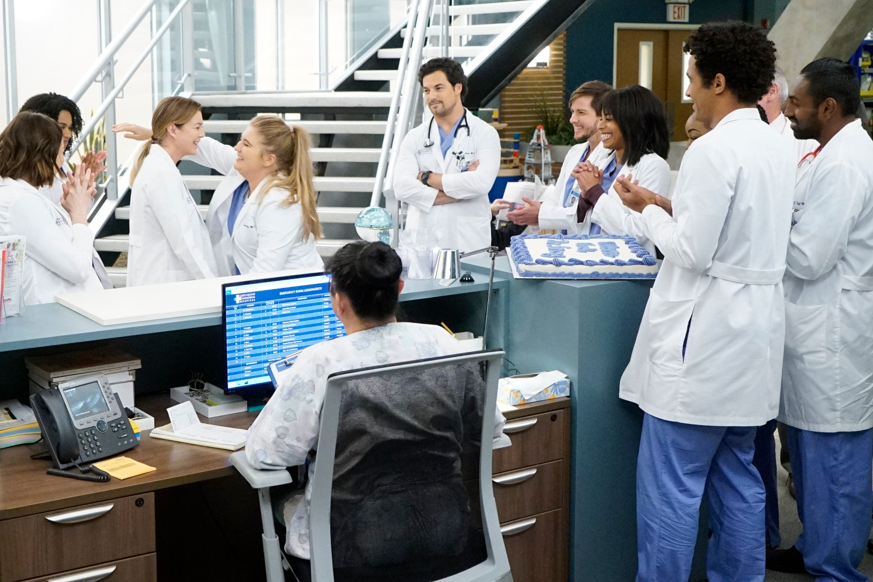 """A portrait of the cast of ABC's """"Grey's Anatomy,"""" during one of the scenes on the show on October 21, 2019 