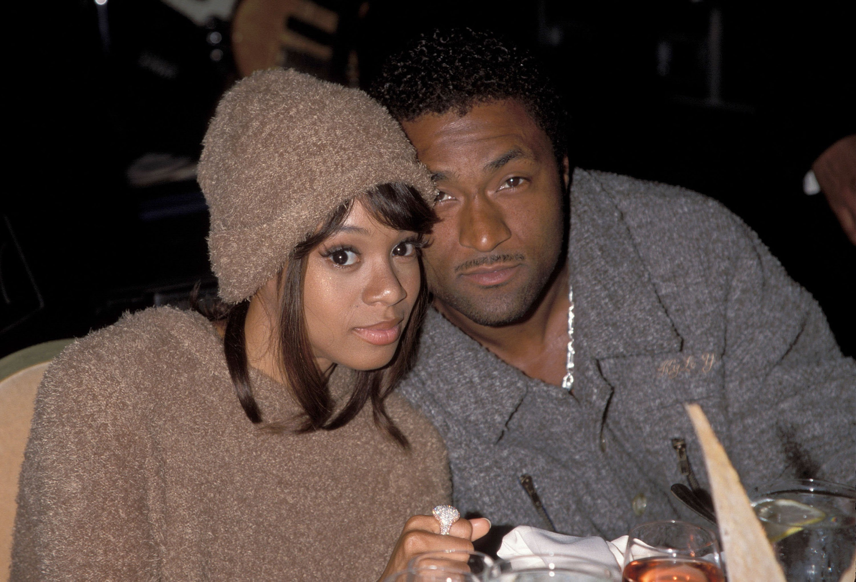 """Lisa """"Left Eye"""" Lopes and Andre Rison photographed during the Arista Pre-Grammy Party. Lopes was killed in a car crash in the Honduras April 25, 2002