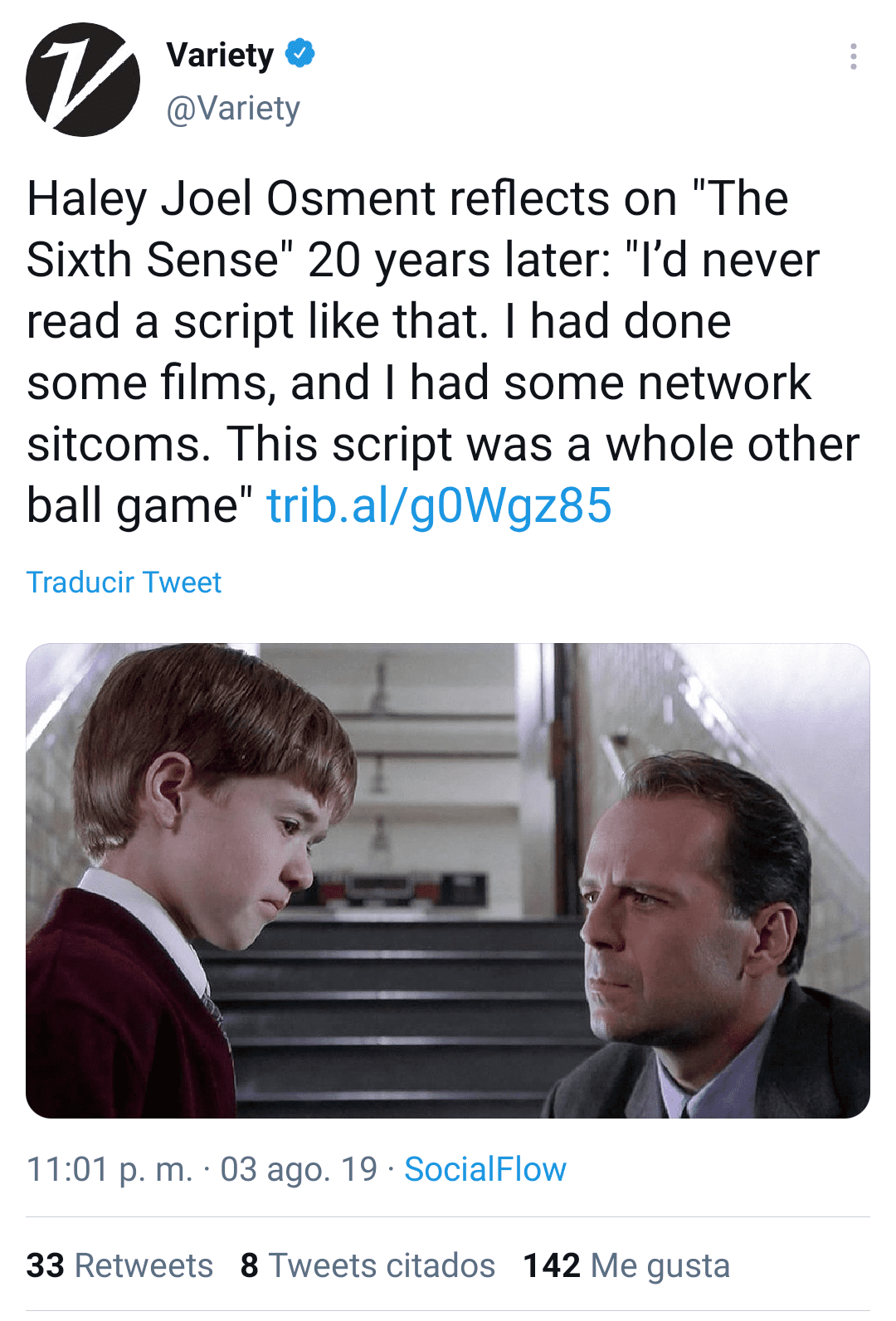 """Haley Joel Osment and Bruce Willis on """"The Sixth Sense""""   Photo: Twitter/Variety"""