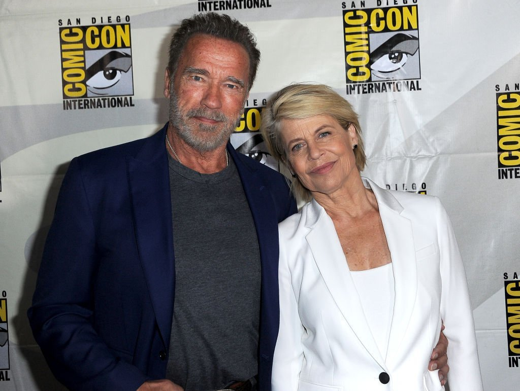 """Arnold Schwarzenegger and Linda Hamilton attend the """"Terminator: Dark Fate"""" panel during 2019 Comic-Con International at San Diego Convention Center 