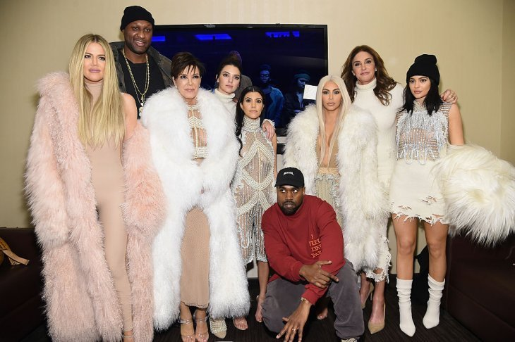 Khloe Kardashian, Lamar Odom, Kris Jenner, Kendall Jenner, Kourtney Kardashian, Kanye West, Kim Kardashian, Caitlin Jenner and Kylie Jenner attend Kanye West Yeezy Season 3 on February 11, 2016 | Photo: GettyImages