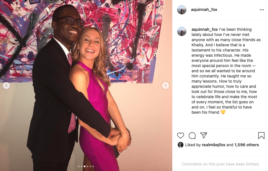 Aquinnah Fox in one of the pictures shared on her social media in March 2021 to pay tribute to her friend Khaliq. | Image: Instagram/ aquinnah_fox.