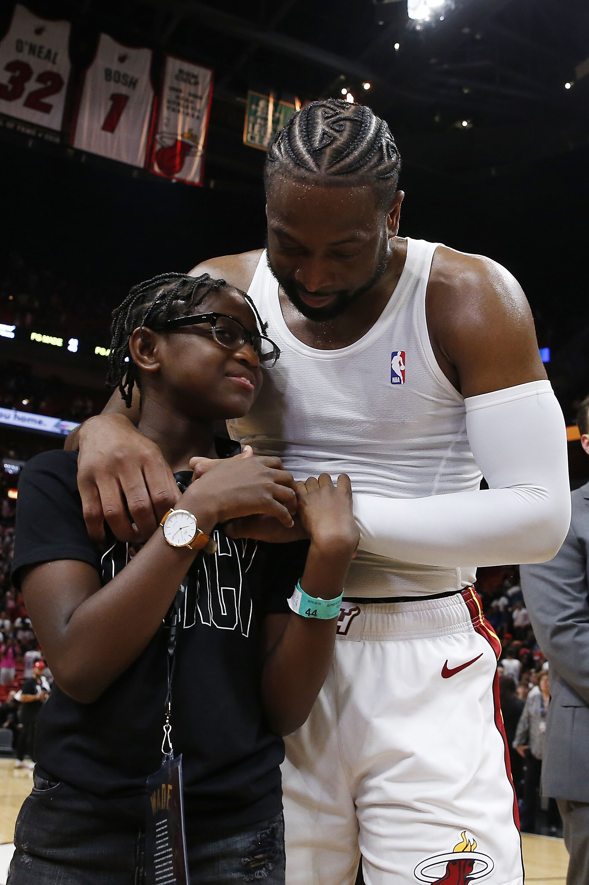 Dwyane Wade and son, Zion after his final career home game on April 09, 2019/ Source: Getty Image
