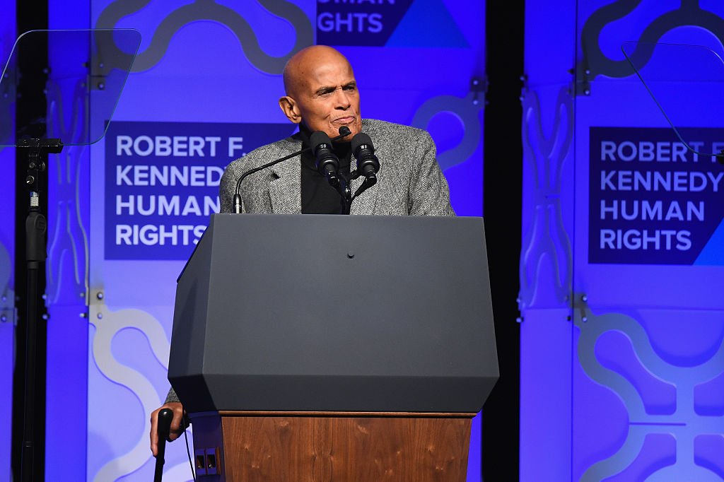 Harry Belafonte speaks onstage during RFK Human Rights Ripple of Hope Awards in New York on December 06, 2016.   Photo: Getty Images