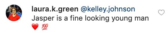 A fan's comment on Kelley's Instagram post | Source: instagram/kelley.johnson