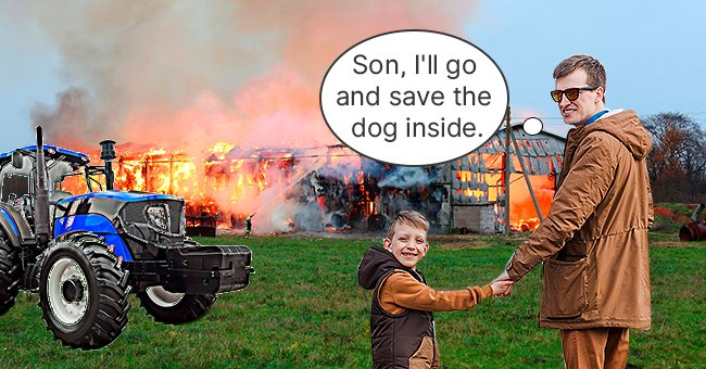 The father held his son as he was about to save a dog from a burning barn | Source: Shutterstock