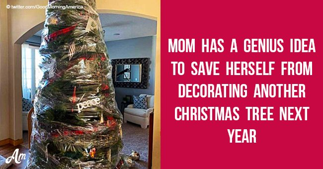 Mom has a genius idea to save herself from decorating another Christmas tree next year