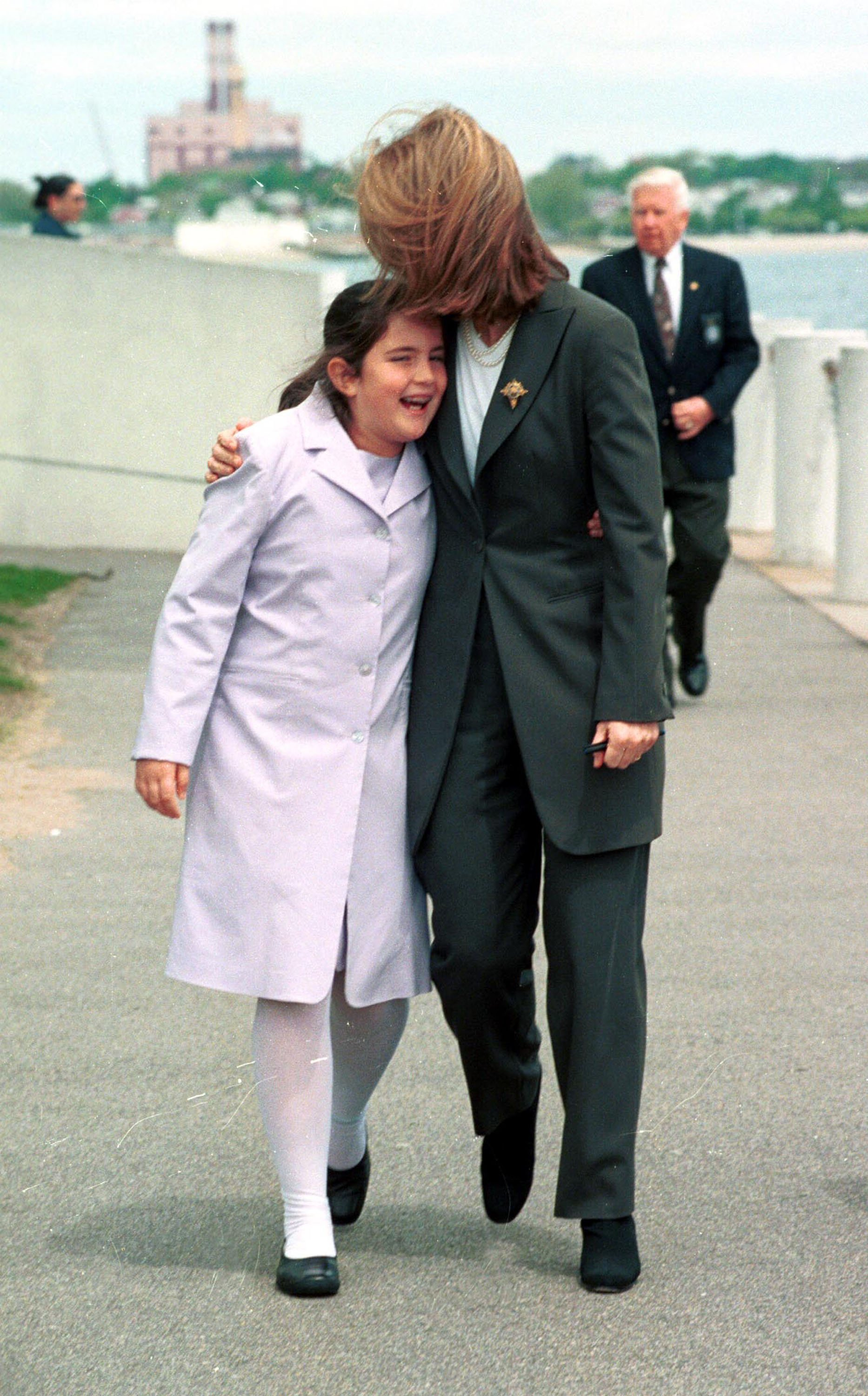 Caroline Kennedy and Tatiana Schlossberg outside the JFK Library on May 22, 2000 in Boston | Source: Getty Images