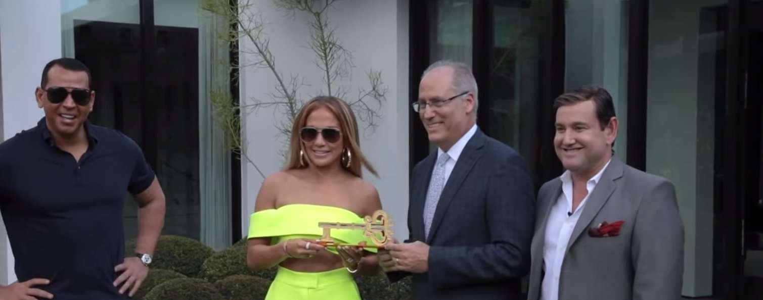 From left: Alex Rodriguez, Jennifer Lopez, Mayor Dan Gelber, and Commissioner Michael Gongora | Photo: YouTube/ Access