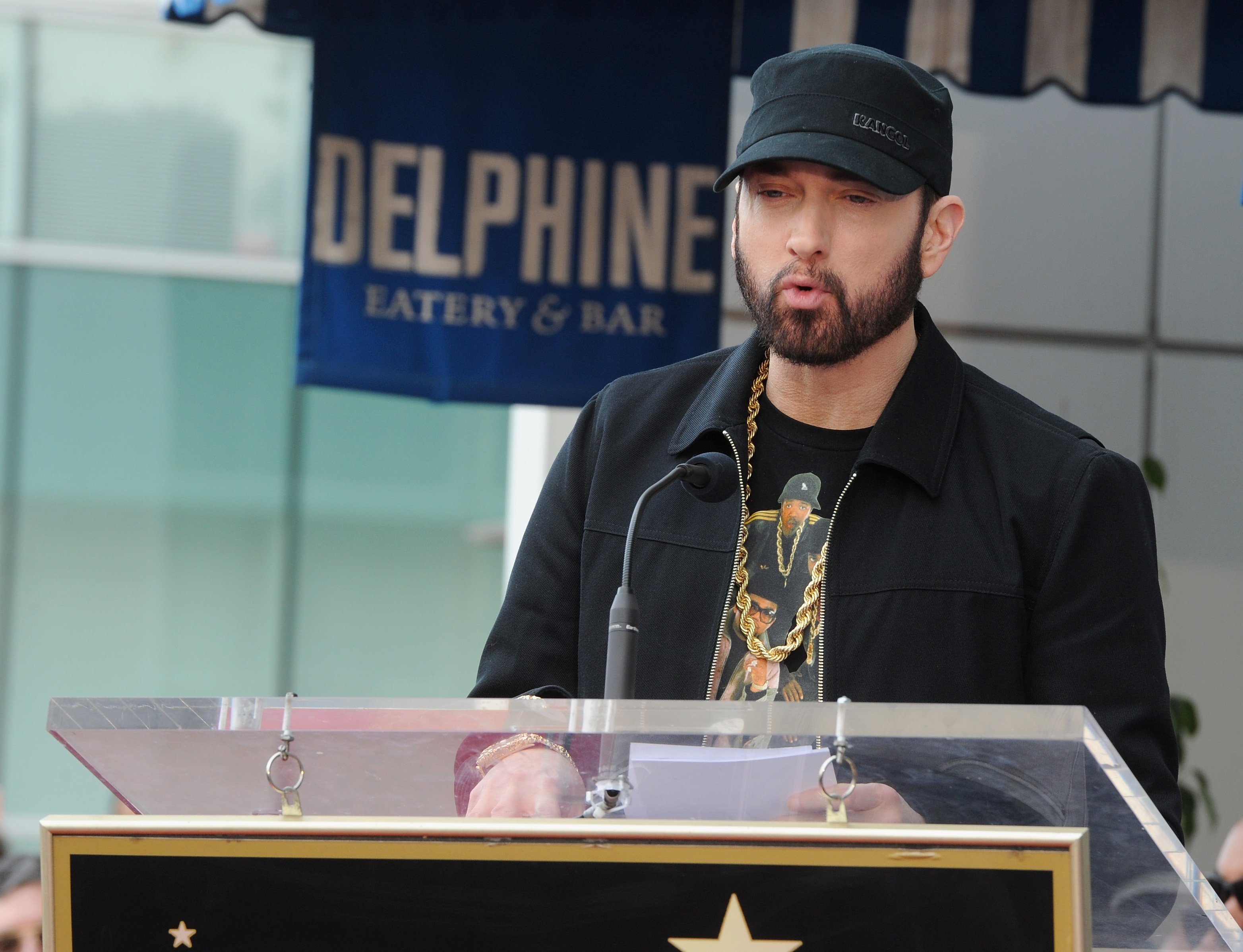 """Eminem attends a ceremony honoring Curtis """"50 Cent"""" Jackson with a star on the Hollywood Walk of Fame on January 30, 2020 in Hollywood, California. 