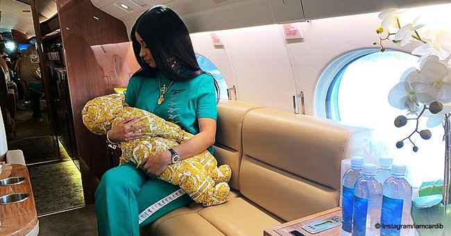 Cardi B melts hearts with a photo of baby Kulture rocking $830 hooded Versace puffer onesie