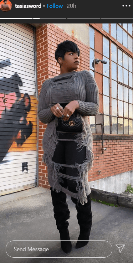 Singer Fantasia Barrino flaunts her curves in a chic long ripped sweater and thigh-high boots.   Photo: instagram.com/tasiasword