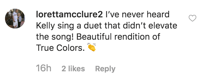 "Fan praise Kelly Clarkson and Cindy Lauper for their performance of ""True Colors"" on the ""Kelly Clarkson Show"" 