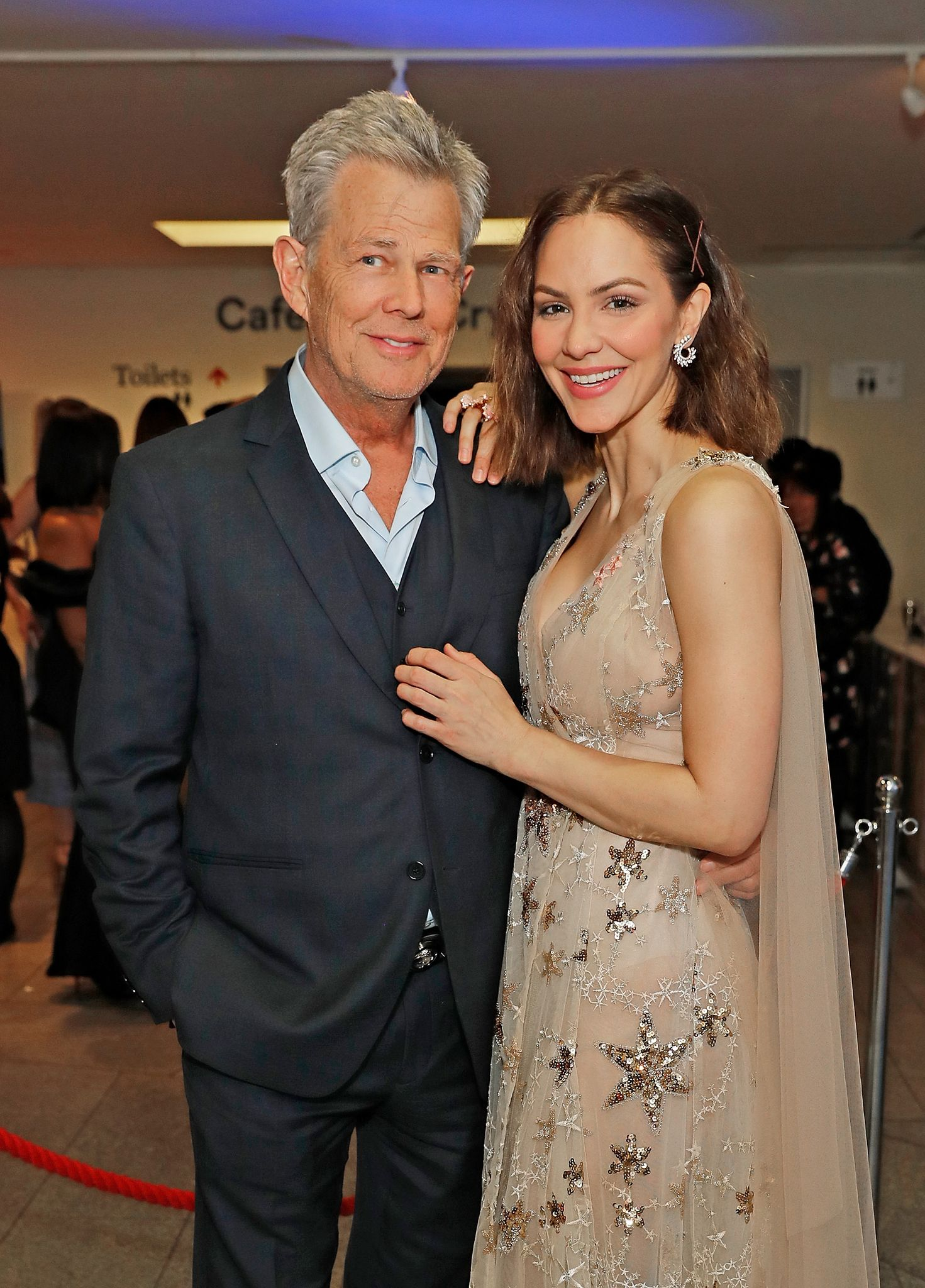 "David Foster and Katharine McPhee at the press night after party for ""Waitress: The Musical"" on March 7, 2019 in London, England. 